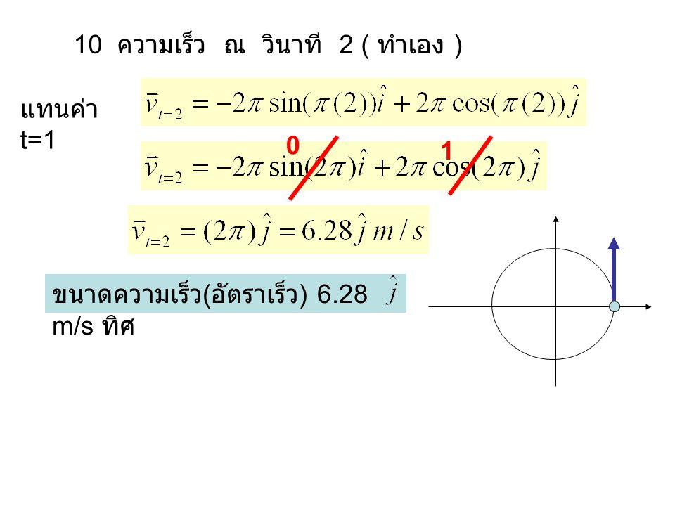 10 ความเร็ว ณ วินาที 2 ( ทำเอง ) แทนค่า t=1 0 1 ขนาดความเร็ว ( อัตราเร็ว ) 6.28 m/s ทิศ
