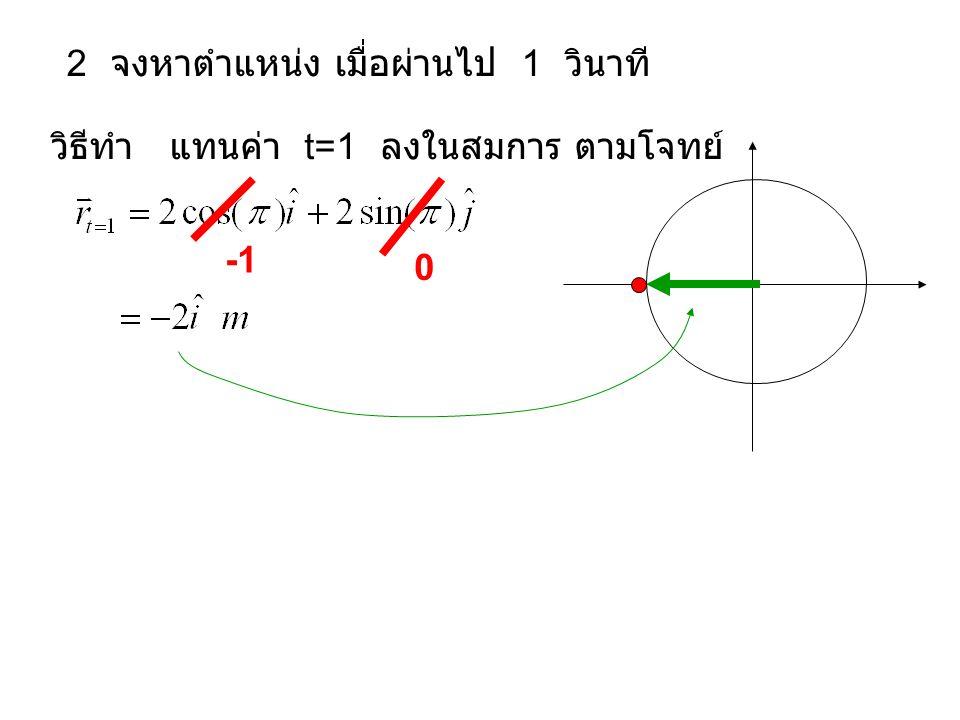 2 จงหาตำแหน่ง เมื่อผ่านไป 1 วินาที วิธีทำ แทนค่า t=1 ลงในสมการ ตามโจทย์ 0