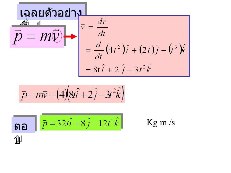 เฉลยตัวอย่าง ที่ 1 Kg m /s ตอ บ