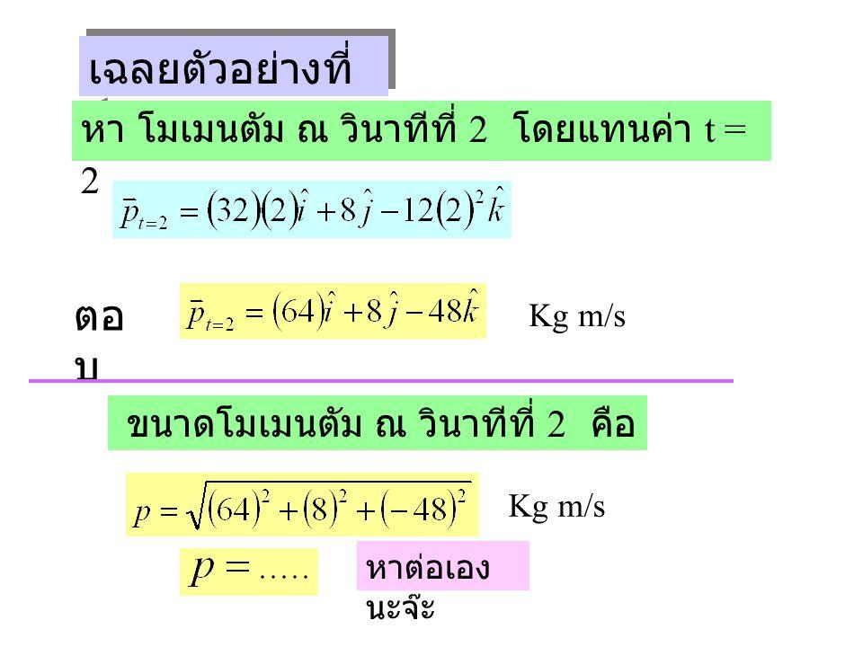เฉลยตัวอย่างที่ 1 ( ต่อ ) หา โมเมนตัม ณ วินาทีที่ 2 โดยแทนค่า t = 2 ตอ บ Kg m/s ขนาดโมเมนตัม ณ วินาทีที่ 2 คือ Kg m/s หาต่อเอง นะจ๊ะ
