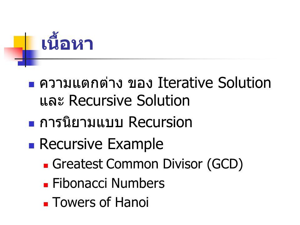 เนื้อหา ความแตกต่าง ของ Iterative Solution และ Recursive Solution การนิยามแบบ Recursion Recursive Example Greatest Common Divisor (GCD) Fibonacci Numbers Towers of Hanoi