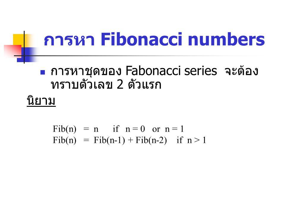 การหา Fibonacci numbers นิยาม Fib(n) = n if n = 0 or n = 1 Fib(n) = Fib(n-1) + Fib(n-2) if n > 1 การหาชุดของ Fabonacci series จะต้อง ทราบตัวเลข 2 ตัวแรก