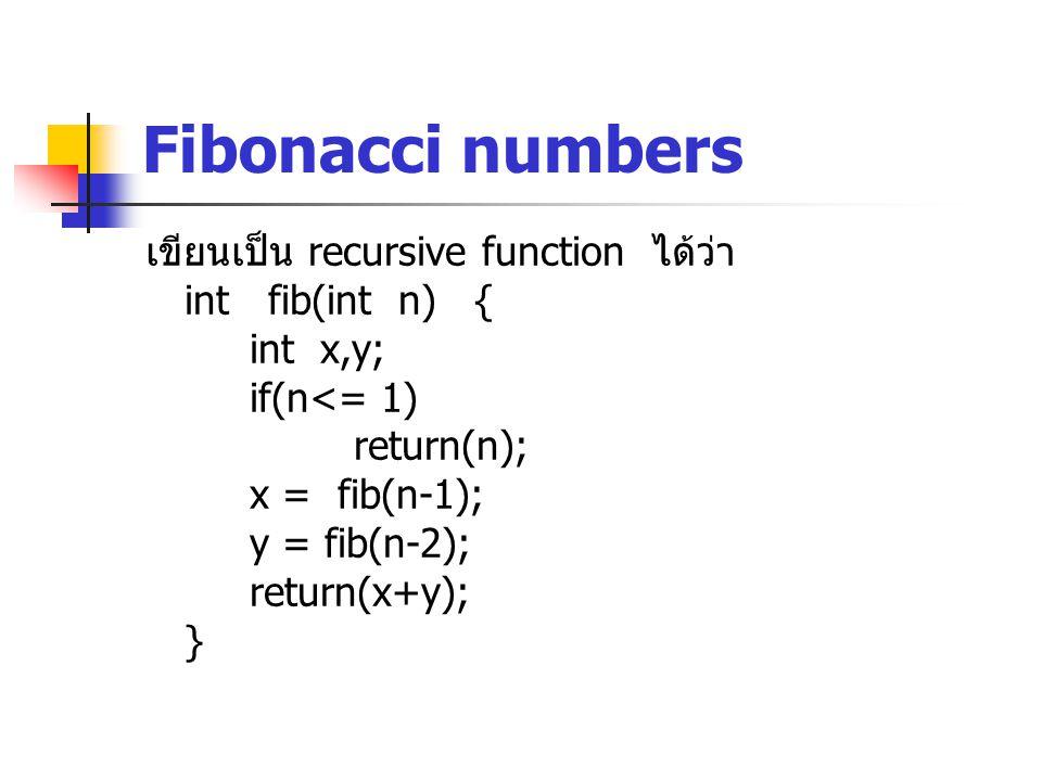 Fibonacci numbers เขียนเป็น recursive function ได้ว่า int fib(int n) { int x,y; if(n<= 1) return(n); x = fib(n-1); y = fib(n-2); return(x+y); }