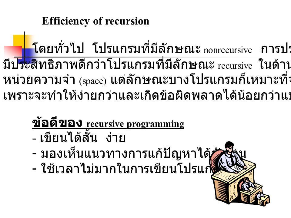 Efficiency of recursion โดยทั่วไป โปรแกรมที่มีลักษณะ nonrecursive การประมวลผลจะมี มีประสิทธิภาพดีกว่าโปรแกรมที่มีลักษณะ recursive ในด้านของเวลาและพื้นที่ หน่วยความจำ (space) แต่ลักษณะบางโปรแกรมก็เหมาะที่จะเขียนแบบ recursive เพราะจะทำให้ง่ายกว่าและเกิดข้อผิดพลาดได้น้อยกว่าแบบ nonrecursive ข้อดีของ recursive programming - เขียนได้สั้น ง่าย - มองเห็นแนวทางการแก้ปัญหาได้ชัดเจน - ใช้เวลาไม่มากในการเขียนโปรแกรม