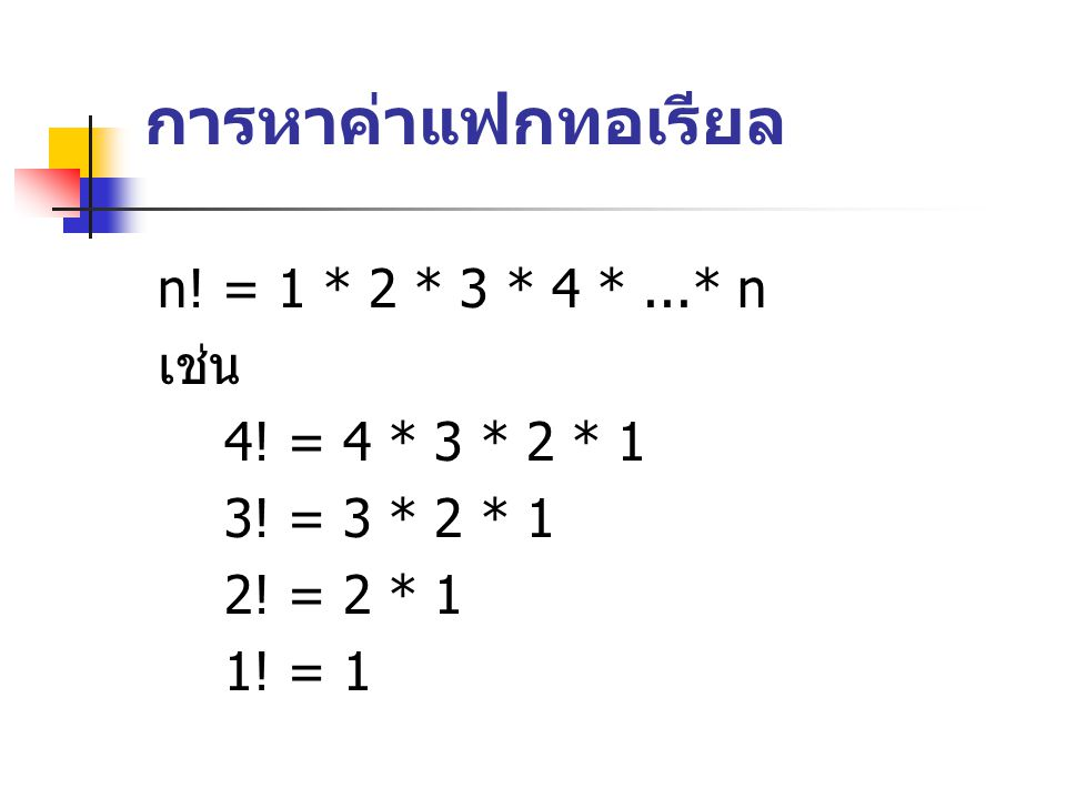 Iterative Factorial Algorithm Algorithm iterativeFactorial (n) Calculates the factorial of a number using a loop Pre n is the number to be raised factoriallly Post n.