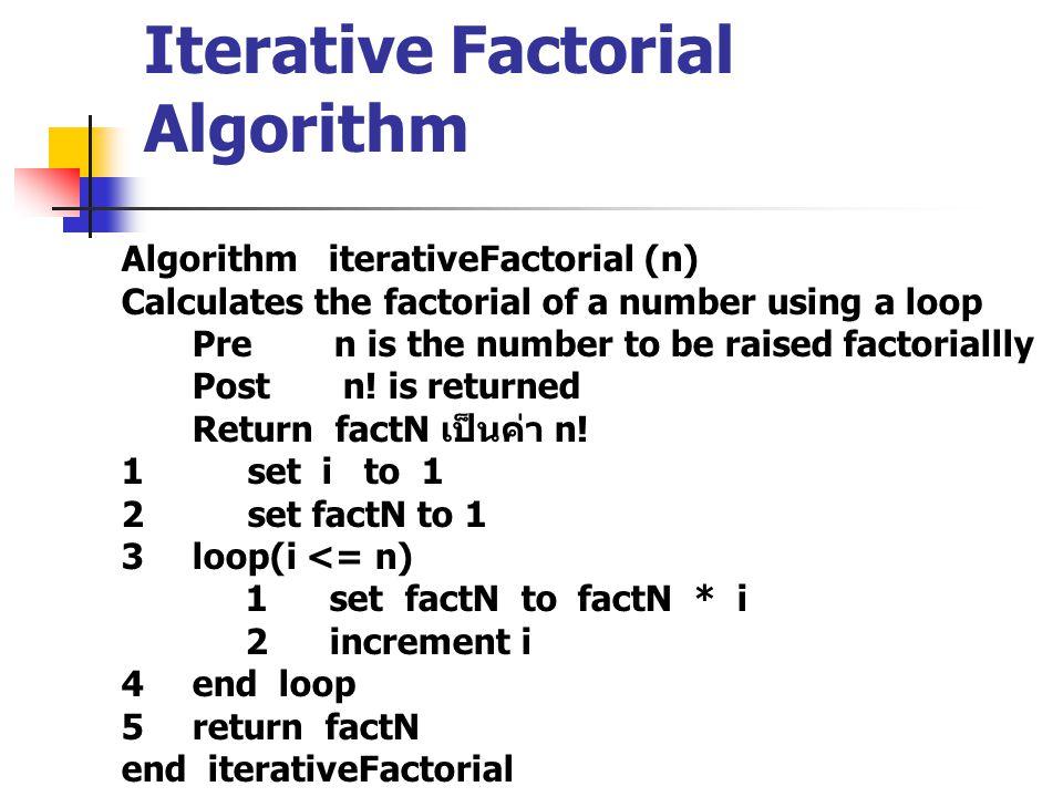 ดังนั้น ส่ง 4 เข้าไปให้ฟังก์ชัน พอเรียกฟังก์ชัน จะได้ return(4 * return(3 * return(2 * return(1 * return(1); จะเห็นว่า ค่าส่งกลับจะเป็น return(4*3*2*1*1) Recursive programming