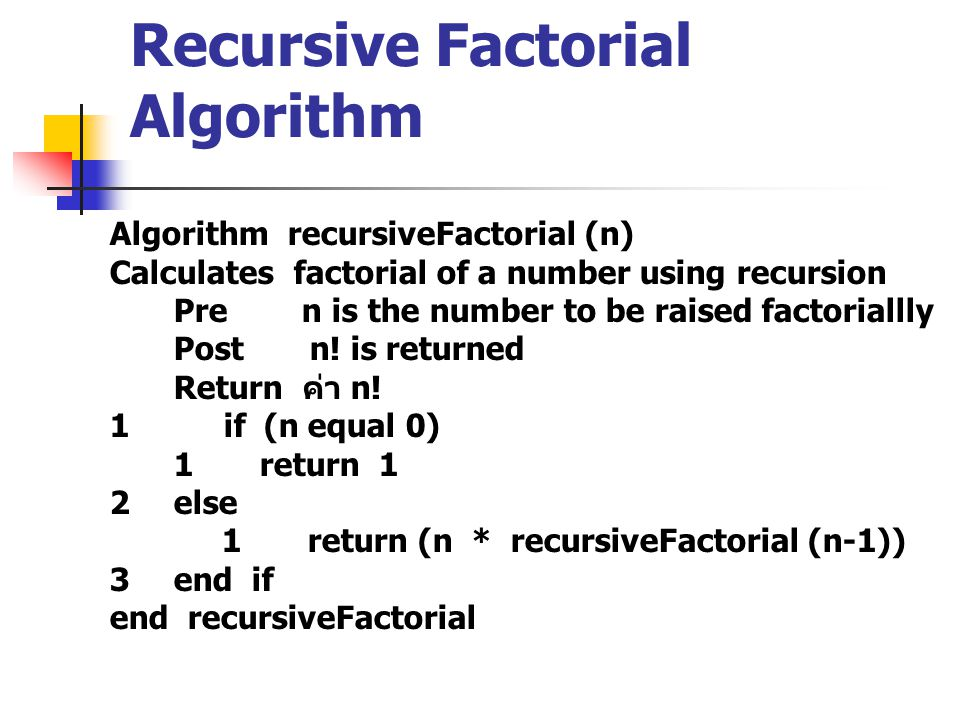 Recursive Factorial Algorithm Algorithm recursiveFactorial (n) Calculates factorial of a number using recursion Pre n is the number to be raised factoriallly Post n.