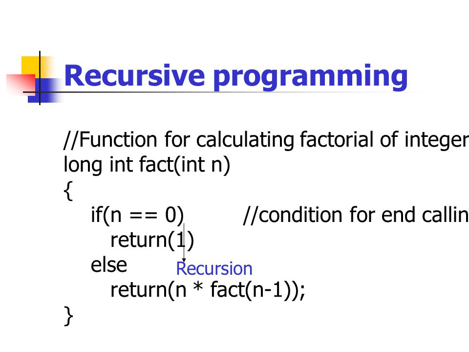 Recursive programming //Function for calculating factorial of integer long int fact(int n) { if(n == 0) //condition for end calling itself return(1) else return(n * fact(n-1)); } Recursion