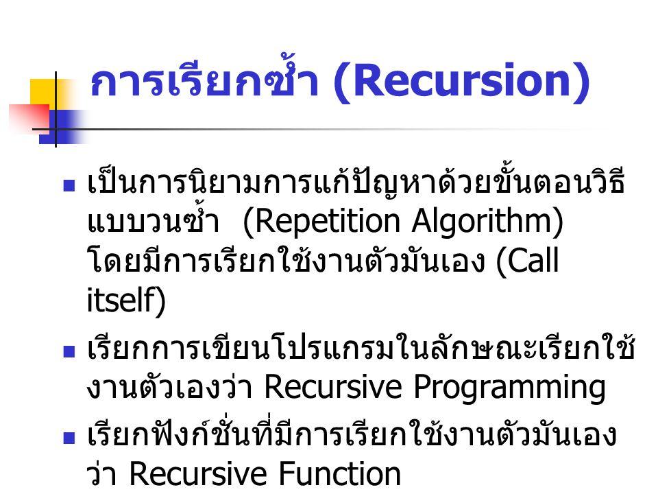 การเรียกซ้ำ (Recursion) เป็นการนิยามการแก้ปัญหาด้วยขั้นตอนวิธี แบบวนซ้ำ (Repetition Algorithm) โดยมีการเรียกใช้งานตัวมันเอง (Call itself) เรียกการเขียนโปรแกรมในลักษณะเรียกใช้ งานตัวเองว่า Recursive Programming เรียกฟังก์ชั่นที่มีการเรียกใช้งานตัวมันเอง ว่า Recursive Function