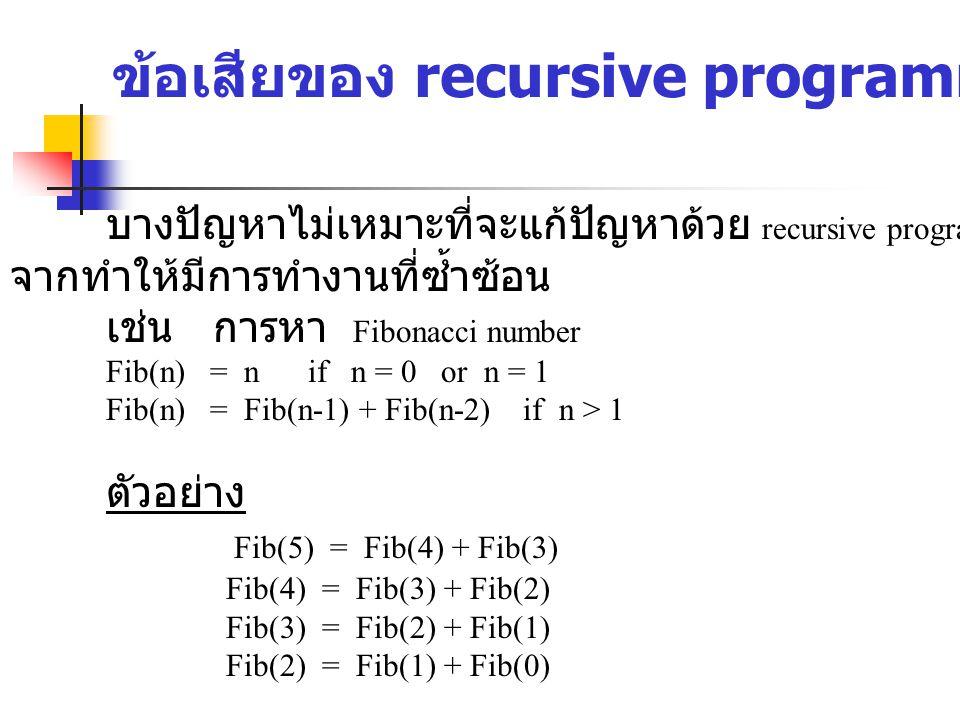 ข้อเสียของ recursive programming บางปัญหาไม่เหมาะที่จะแก้ปัญหาด้วย recursive programming เนื่อง จากทำให้มีการทำงานที่ซ้ำซ้อน เช่น การหา Fibonacci number Fib(n) = n if n = 0 or n = 1 Fib(n) = Fib(n-1) + Fib(n-2) if n > 1 ตัวอย่าง Fib(5) = Fib(4) + Fib(3) Fib(4) = Fib(3) + Fib(2) Fib(3) = Fib(2) + Fib(1) Fib(2) = Fib(1) + Fib(0)