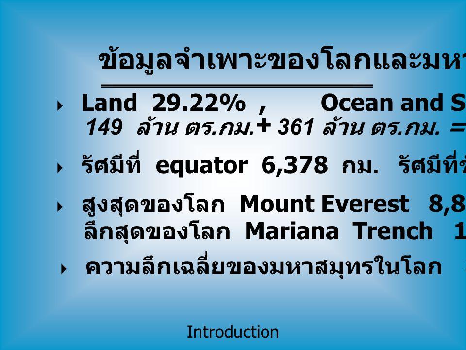 Introduction  Land 29.22%, Ocean and Seas 70.78% 149 ล้าน ตร. กม. + 361 ล้าน ตร. กม. = 510 ล้าน ตร. กม.  รัศมีที่ equator 6,378 กม. รัศมีที่ขั้วโลก