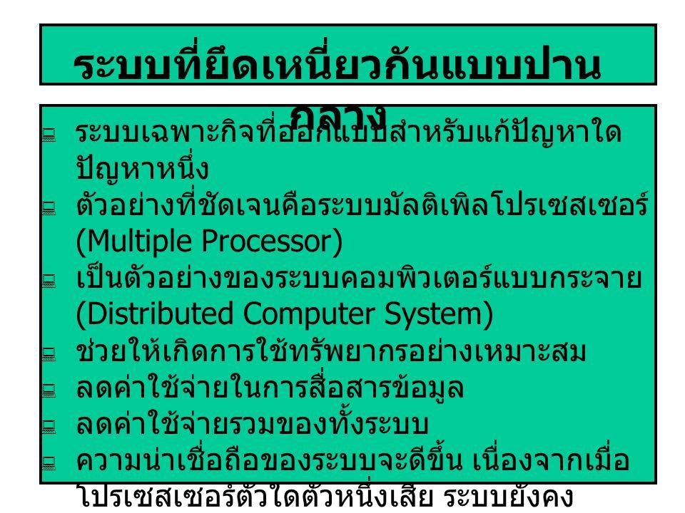 ระบบที่ยึดเหนี่ยวกันแบบปาน กลาง  ระบบเฉพาะกิจที่ออกแบบสำหรับแก้ปัญหาใด ปัญหาหนึ่ง  ตัวอย่างที่ชัดเจนคือระบบมัลติเพิลโปรเซสเซอร์ (Multiple Processor)