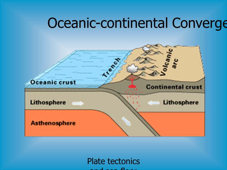 Plate tectonics and sea floor spreading Oceanic-continental Convergence