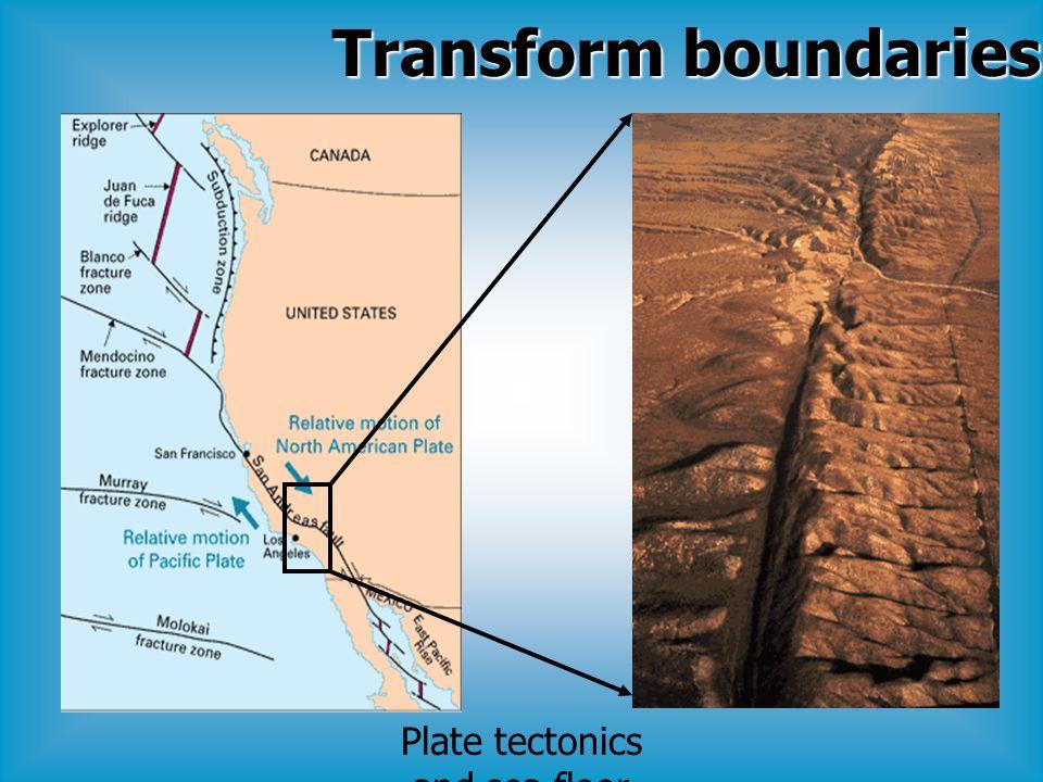 Plate tectonics and sea floor spreading Transform boundaries