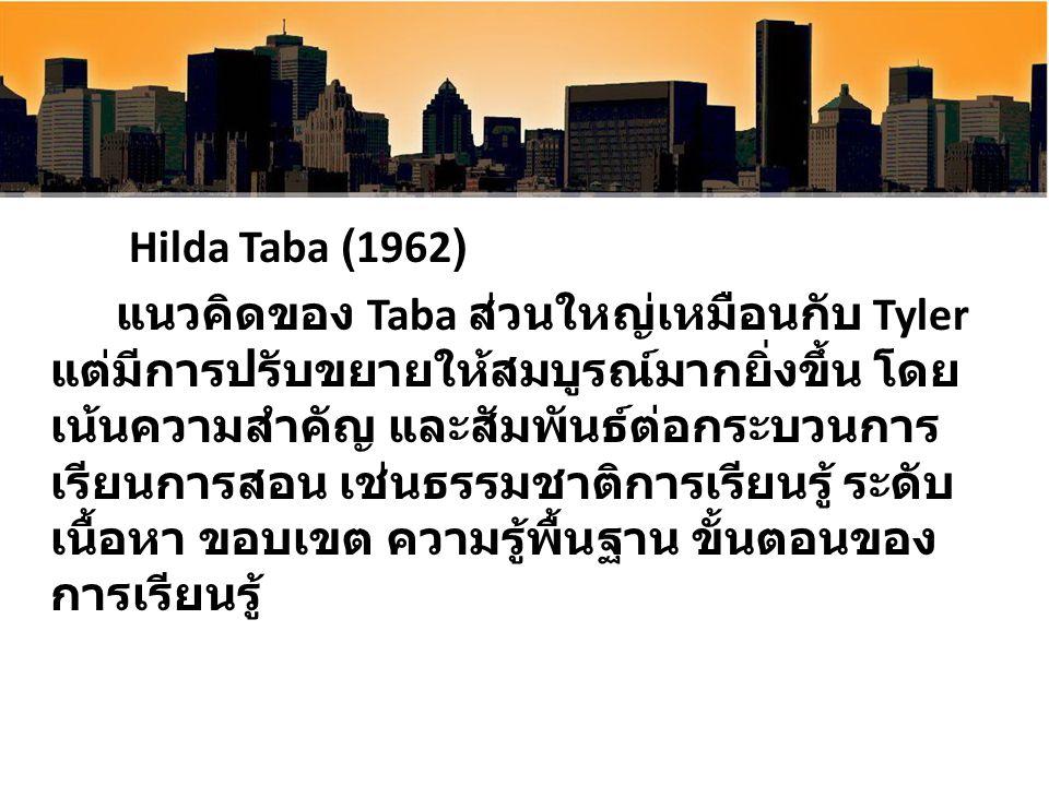Hilda Taba (1962) แนวคิดของ Taba ส่วนใหญ่เหมือนกับ Tyler แต่มีการปรับขยายให้สมบูรณ์มากยิ่งขึ้น โดย เน้นความสำคัญ และสัมพันธ์ต่อกระบวนการ เรียนการสอน เ