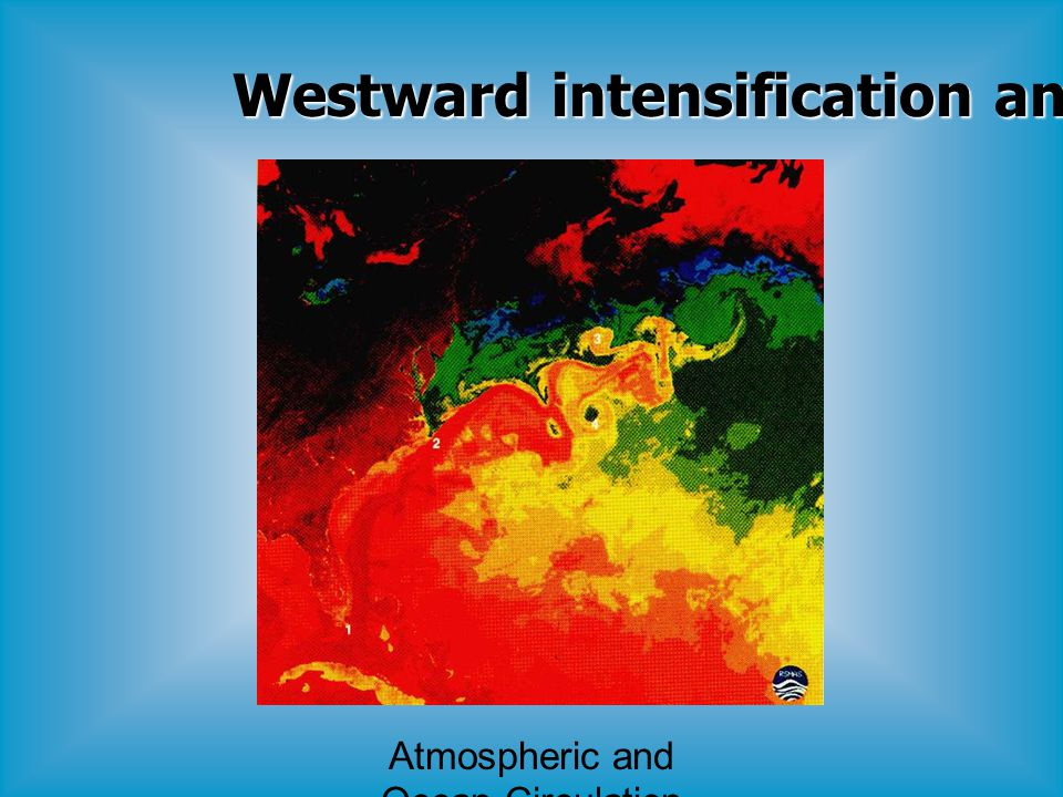 Atmospheric and Ocean Circulation Westward intensification and Eddies