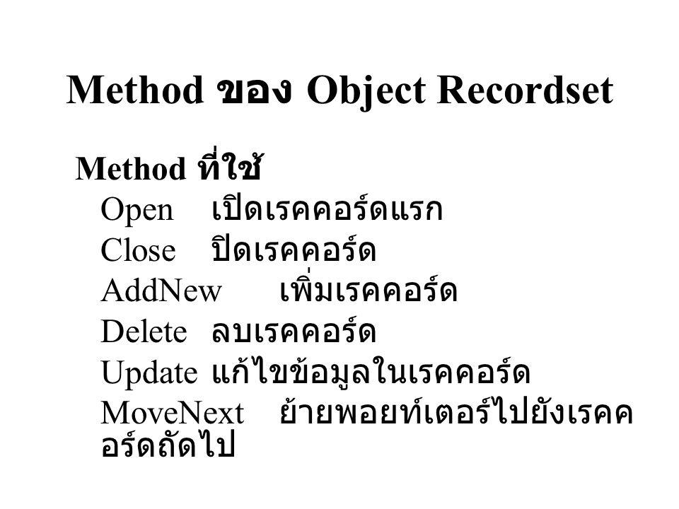 Method ของ Object Recordset Method ที่ใช้ Open เปิดเรคคอร์ดแรก Close ปิดเรคคอร์ด AddNew เพิ่มเรคคอร์ด Delete ลบเรคคอร์ด Update แก้ไขข้อมูลในเรคคอร์ด M