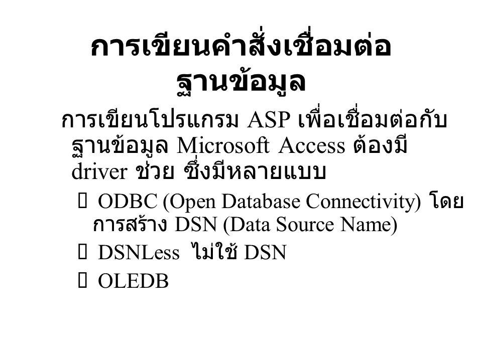 รูปแบบการใช้ DSNLess คำสั่ง ASP เพื่อเชื่อมต่อกับฐานข้อมูลแบบ DNSLess มี 2 ส่วน 1 Set ObjDB=Server.CreateObject( ADODB.Connection )  เชื่อมต่อฐานข้อมูลผ่าน DNSLess ด้วยออปเจ็กต์ ObjDB 2 ObjDB.Open DRIVER={Microsoft Access Driver (*.mdb)}; DBQ= & Server.mappath( bookshop.mdb )  ใช้เมธอด Open เพื่อติดต่อฐานข้อมูล Microsoft Access โดยมี DBQ (Databasw Querry) บอกชื่อไฟล์ และไดเร็กทอรี่