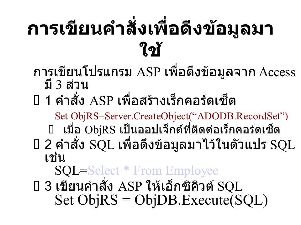 การเขียนคำสั่งเพื่อดึงข้อมูลมา ใช้ การเขียนโปรแกรม ASP เพื่อดึงข้อมูลจาก Access มี 3 ส่วน  1 คำสั่ง ASP เพื่อสร้างเร็กคอร์ดเซ็ต Set ObjRS=Server.Crea
