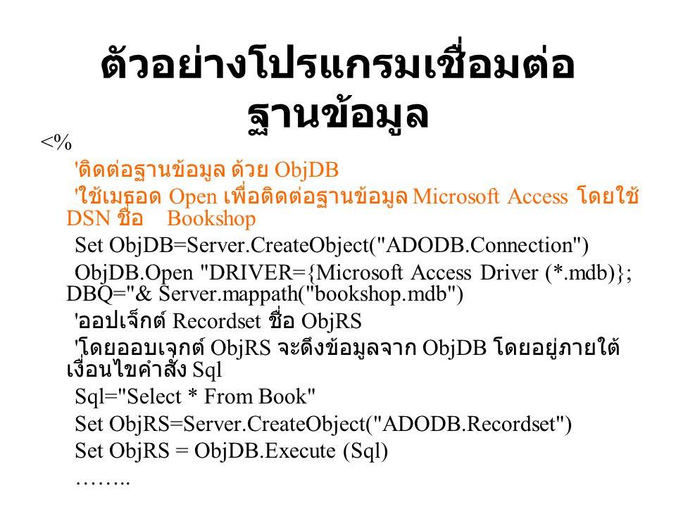 ตัวอย่างโปรแกรมเชื่อมต่อ ฐานข้อมูล <% ' ติดต่อฐานข้อมูล ด้วย ObjDB ' ใช้เมธอด Open เพื่อติดต่อฐานข้อมูล Microsoft Access โดยใช้ DSN ชื่อ Bookshop Set