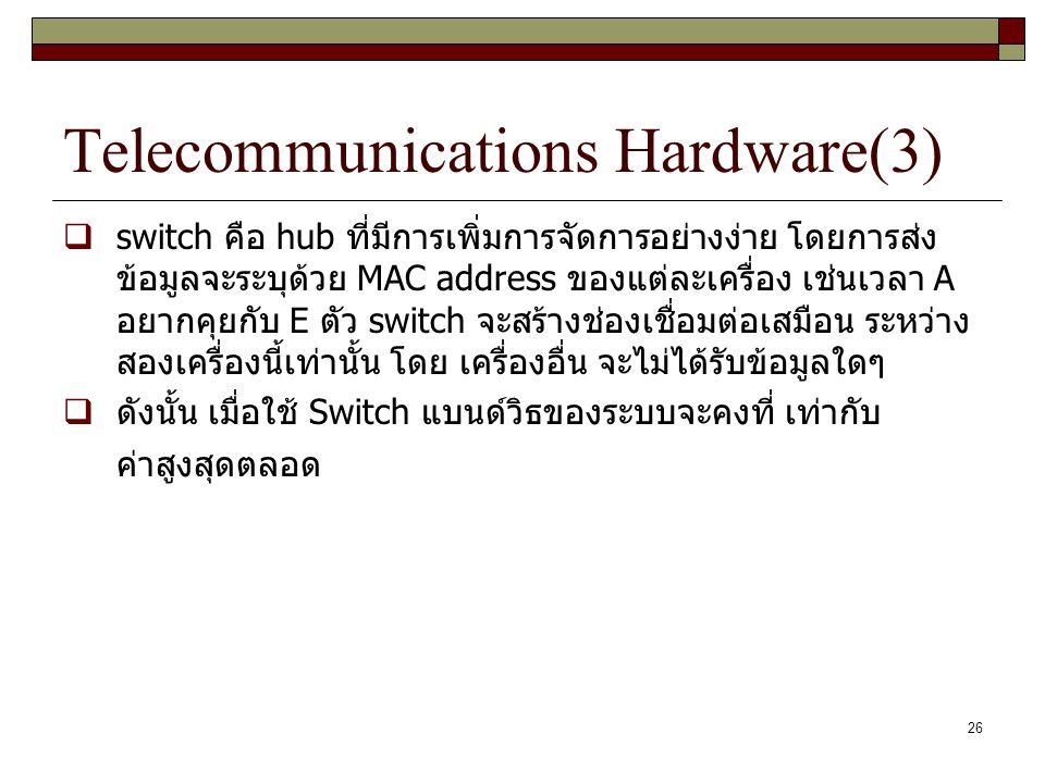 26 Telecommunications Hardware(3)  switch คือ hub ที่มีการเพิ่มการจัดการอย่างง่าย โดยการส่ง ข้อมูลจะระบุด้วย MAC address ของแต่ละเครื่อง เช่นเวลา A อ