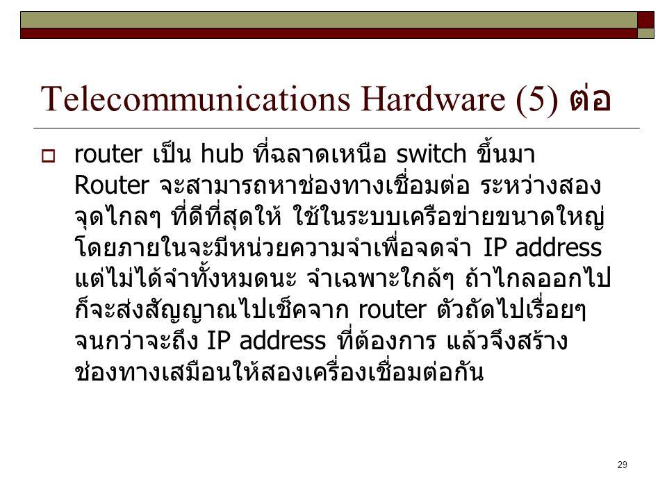 29 Telecommunications Hardware (5) ต่อ  router เป็น hub ที่ฉลาดเหนือ switch ขึ้นมา Router จะสามารถหาช่องทางเชื่อมต่อ ระหว่างสอง จุดไกลๆ ที่ดีที่สุดให