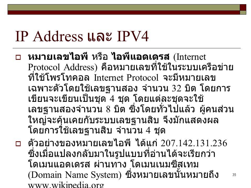 35 IP Address และ IPV4  หมายเลขไอพี หรือ ไอพีแอดเดรส (Internet Protocol Address) คือหมายเลขที่ใช้ในระบบเครือข่าย ที่ใช้โพรโทคอล Internet Protocol จะม