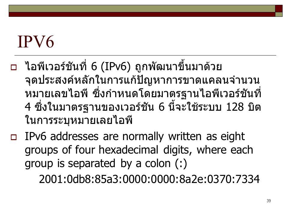 39 IPV6  ไอพีเวอร์ชันที่ 6 (IPv6) ถูกพัฒนาขึ้นมาด้วย จุดประสงค์หลักในการแก้ปัญหาการขาดแคลนจำนวน หมายเลขไอพี ซึ่งกำหนดโดยมาตรฐานไอพีเวอร์ชันที่ 4 ซึ่ง