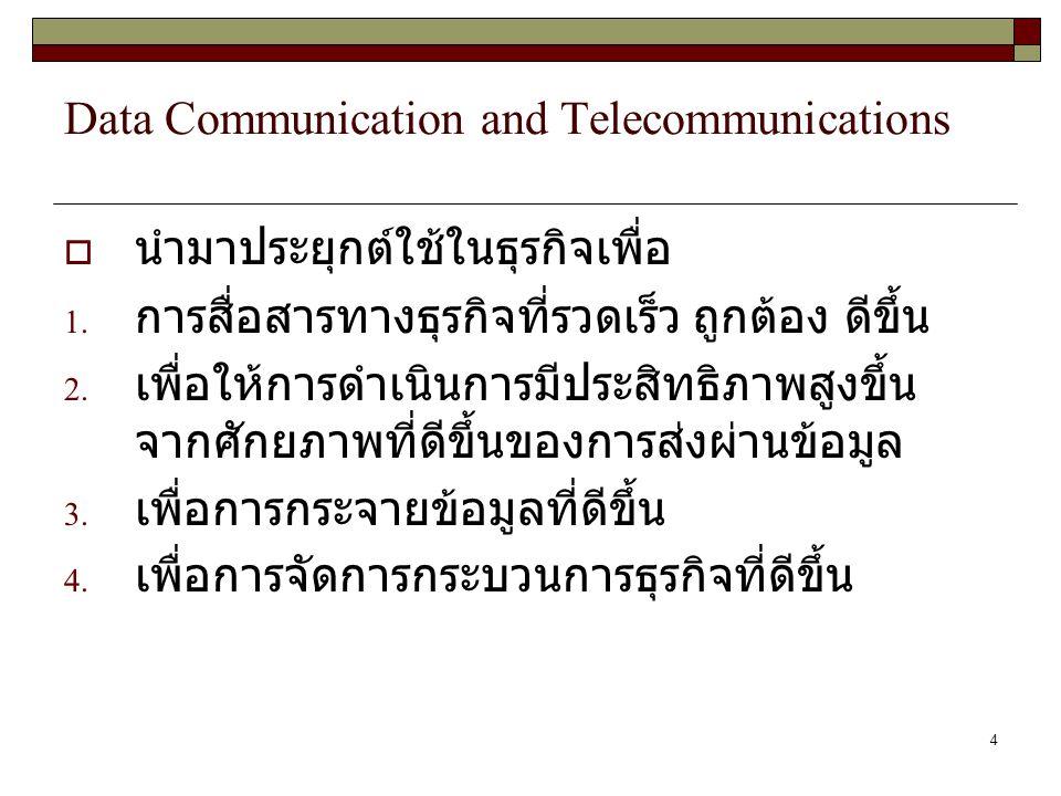 4 Data Communication and Telecommunications  นำมาประยุกต์ใช้ในธุรกิจเพื่อ 1. การสื่อสารทางธุรกิจที่รวดเร็ว ถูกต้อง ดีขึ้น 2. เพื่อให้การดำเนินการมีปร