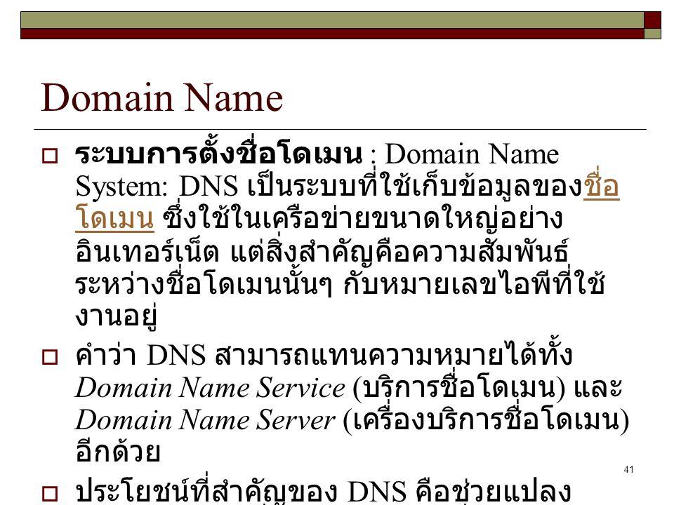 41 Domain Name  ระบบการตั้งชื่อโดเมน : Domain Name System: DNS เป็นระบบที่ใช้เก็บข้อมูลของชื่อ โดเมน ซึ่งใช้ในเครือข่ายขนาดใหญ่อย่าง อินเทอร์เน็ต แต่