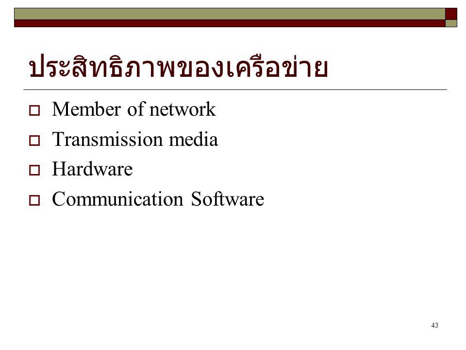 43 ประสิทธิภาพของเครือข่าย  Member of network  Transmission media  Hardware  Communication Software