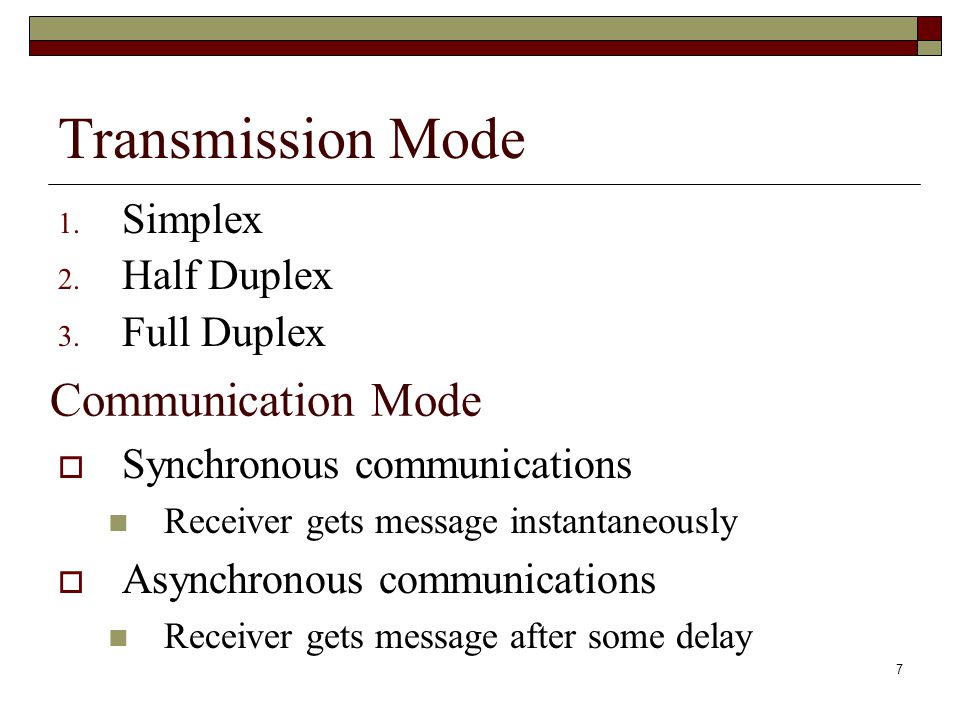 7 Transmission Mode 1. Simplex 2. Half Duplex 3. Full Duplex Communication Mode  Synchronous communications Receiver gets message instantaneously  A