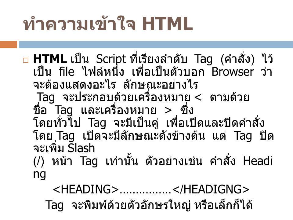 ทำความเข้าใจ HTML  HTML เป็น Script ที่เรียงลำดับ Tag ( คำสั่ง ) ไว้ เป็น file ไฟล์หนึ่ง เพื่อเป็นตัวบอก Browser ว่า จะต้องแสดงอะไร ลักษณะอย่างไร Tag