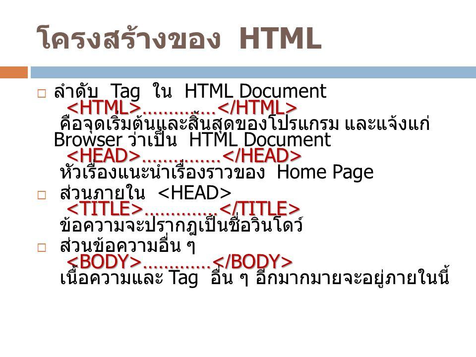 โครงสร้างของ HTML ………….. …………...  ลำดับ Tag ใน HTML Document ………….. คือจุดเริ่มต้นและสิ้นสุดของโปรแกรม และแจ้งแก่ Browser ว่าเป็น HTML Document ………….