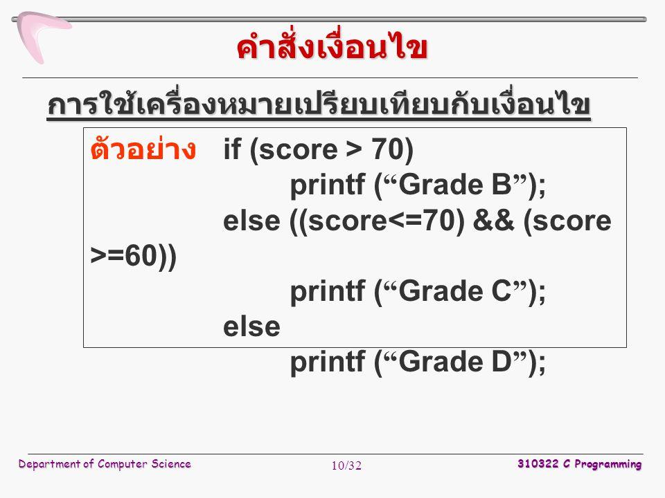 Department of Computer Science 310322 C Programming 10/32 ตัวอย่าง if (score > 70) printf ( Grade B ); else ((score =60)) printf ( Grade C ); else printf ( Grade D ); การใช้เครื่องหมายเปรียบเทียบกับเงื่อนไข คำสั่งเงื่อนไข