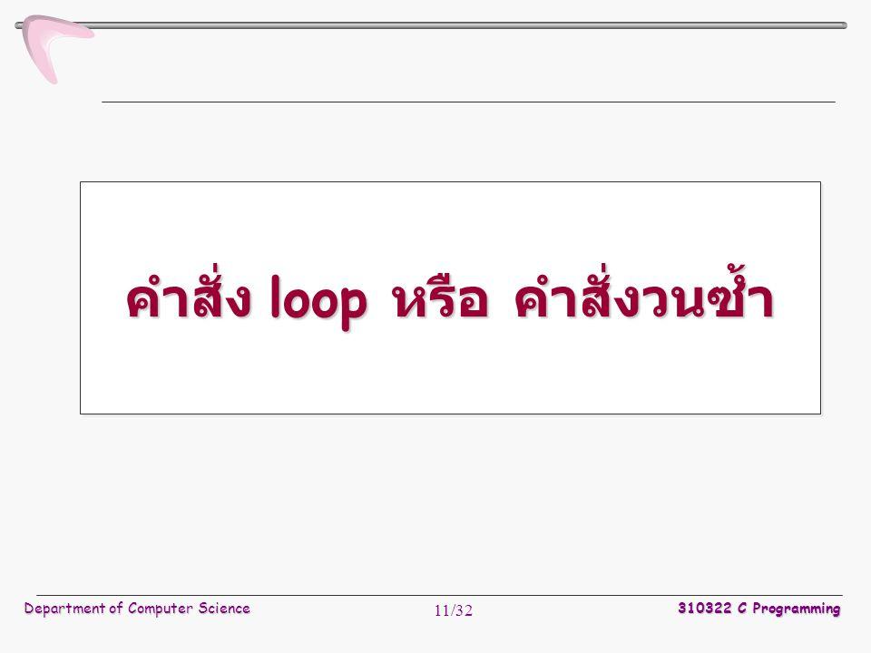 Department of Computer Science 310322 C Programming 11/32 คำสั่ง loop หรือ คำสั่งวนซ้ำ