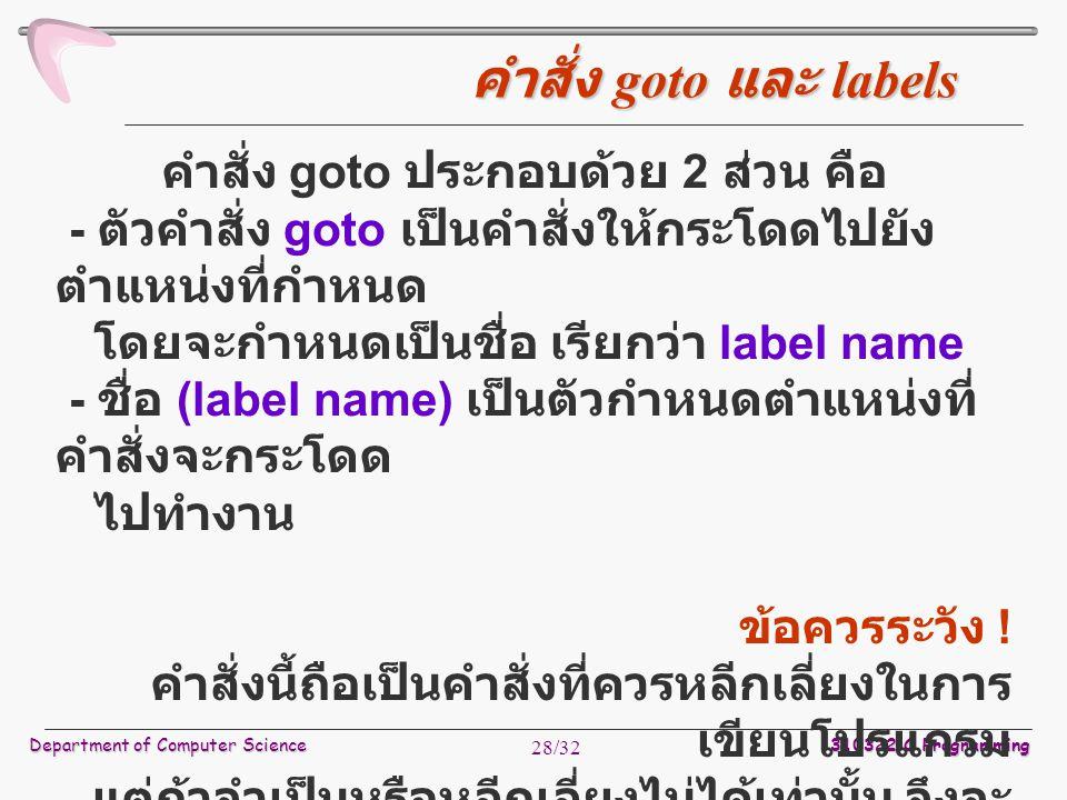 Department of Computer Science 310322 C Programming 28/32 คำสั่ง goto ประกอบด้วย 2 ส่วน คือ - ตัวคำสั่ง goto เป็นคำสั่งให้กระโดดไปยัง ตำแหน่งที่กำหนด โดยจะกำหนดเป็นชื่อ เรียกว่า label name - ชื่อ (label name) เป็นตัวกำหนดตำแหน่งที่ คำสั่งจะกระโดด ไปทำงาน ข้อควรระวัง .