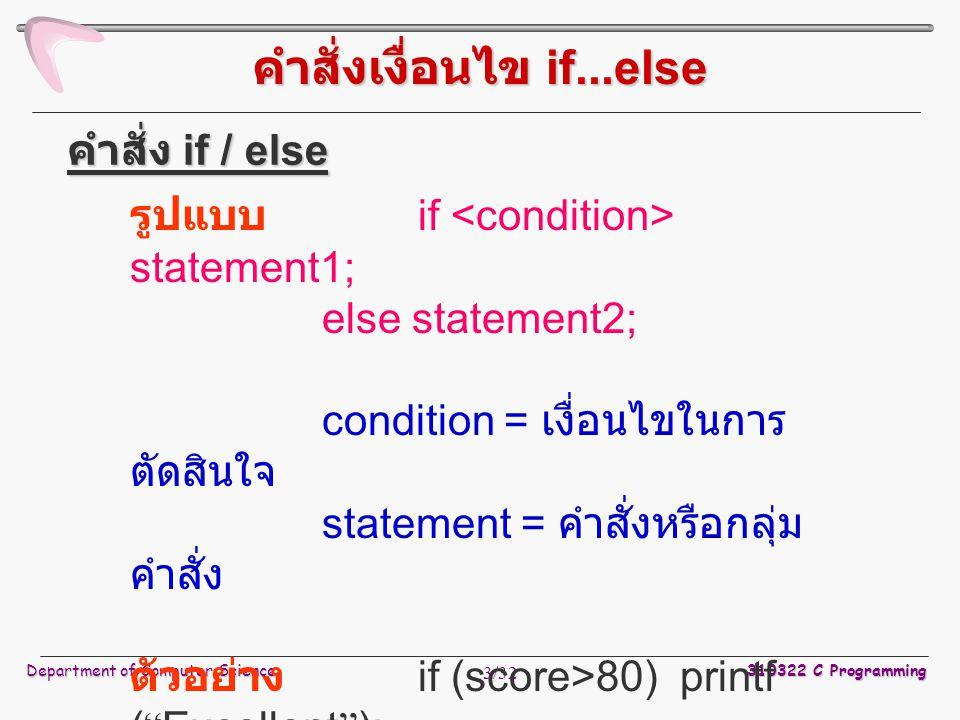 Department of Computer Science 310322 C Programming 3/32 คำสั่งเงื่อนไข if...else รูปแบบ if statement1; else statement2; condition = เงื่อนไขในการ ตัดสินใจ statement = คำสั่งหรือกลุ่ม คำสั่ง ตัวอย่าง if (score>80) printf ( Excellent ); else printf ( Good ); คำสั่ง if / else