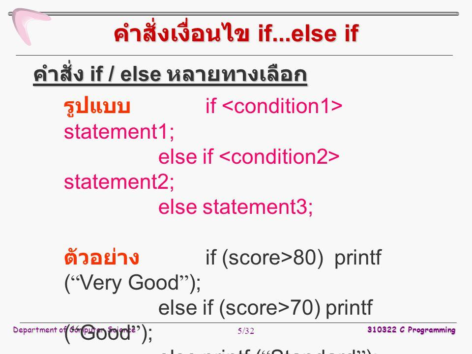 Department of Computer Science 310322 C Programming 6/32 รูปแบบ switch(variable) { case constant1: statement1; break; case constant2: statement2; break; } variable = ตัวแปร หรือ นิพจน์ constant = ค่าคงที่ชนิด int หรือ char ที่ เป็นตัวเลือกทำงาน คำสั่ง switch คำสั่งเงื่อนไข Switch