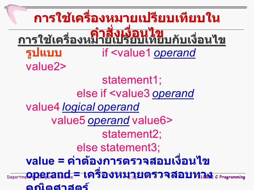 Department of Computer Science 310322 C Programming 8/32 รูปแบบ if statement1; else if statement2; else statement3; value = ค่าต้องการตรวจสอบเงื่อนไข