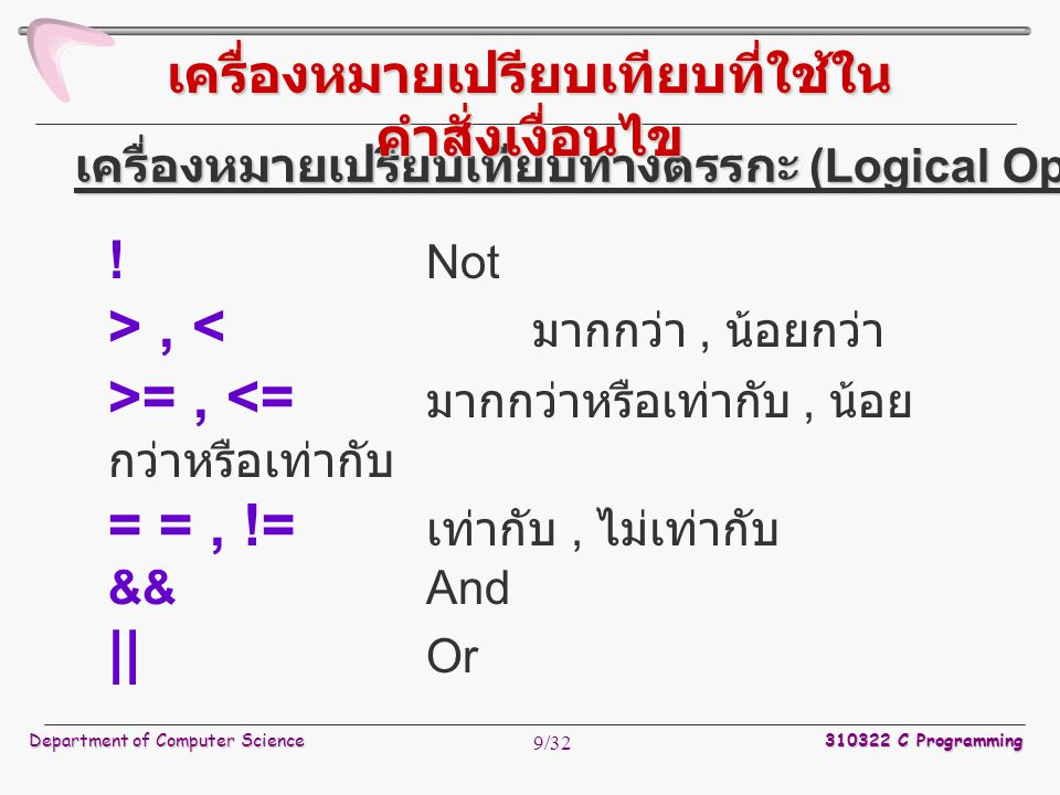 Department of Computer Science 310322 C Programming 20/32 รูปแบบ do statement; while ( นิพจน์เงื่อนไข ); เช่น num = 2; do { num++; printf( Now no is %d\n ,num); } while (num == 10) 3.