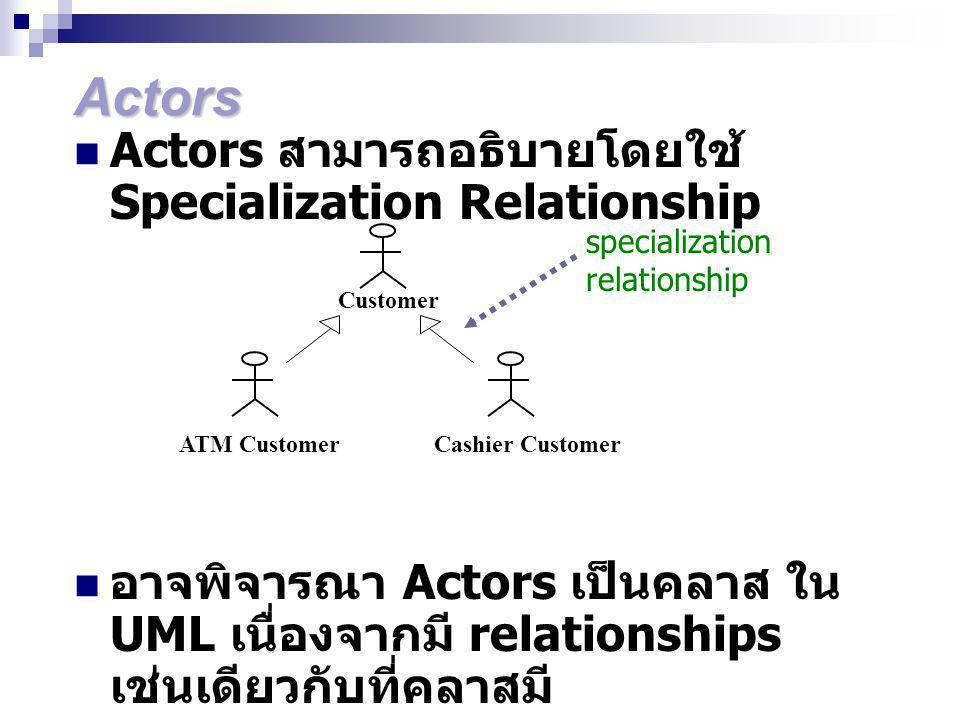 Actors Actors สามารถอธิบายโดยใช้ Specialization Relationship อาจพิจารณา Actors เป็นคลาส ใน UML เนื่องจากมี relationships เช่นเดียวกับที่คลาสมี specialization relationship Customer ATM CustomerCashier Customer