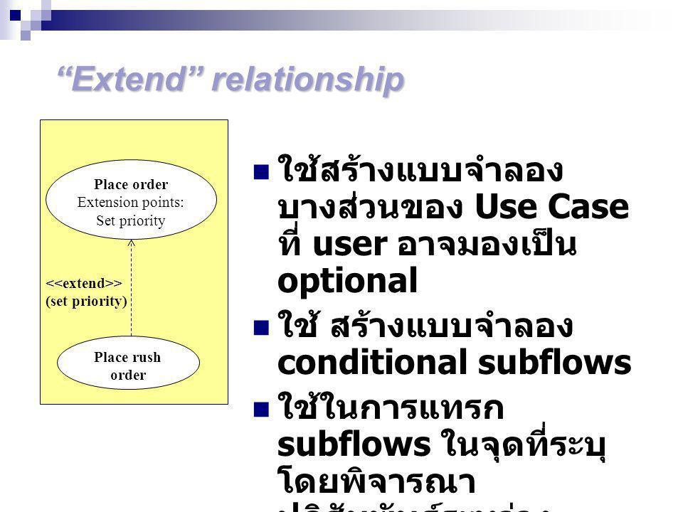 Extend relationship ใช้สร้างแบบจำลอง บางส่วนของ Use Case ที่ user อาจมองเป็น optional ใช้ สร้างแบบจำลอง conditional subflows ใช้ในการแทรก subflows ในจุดที่ระบุ โดยพิจารณา ปฏิสัมพันธ์ระหว่าง Actors > (set priority) Place order Extension points: Set priority Place rush order