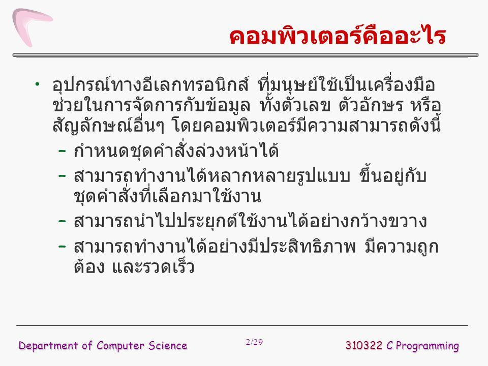 23/29 การเขียนโปรแกรมภาษา C 310322 C Programming Department of Computer Science แฟ้มส่วนหัว แฟ้ม.h Object Code โมดูลอื่นที่แปลแล้ว (.obj) Source Code คอมไพเลอร์ โปรแกรม Editor ตัวเชื่อม (Linker) โปรแกรมที่ประมวลผลได้ (execute file) คลังโปรแกรม Library Functions