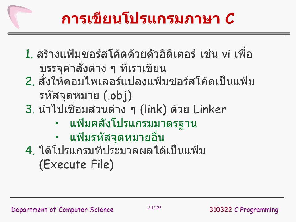 24/29 การเขียนโปรแกรมภาษา C 1. สร้างแฟ้มซอร์สโค้ดด้วยตัวอิดิเตอร์ เช่น vi เพื่อ บรรจุคำสั่งต่าง ๆ ที่เราเขียน 2. สั่งให้คอมไพเลอร์แปลงแฟ้มซอร์สโค้ดเป็
