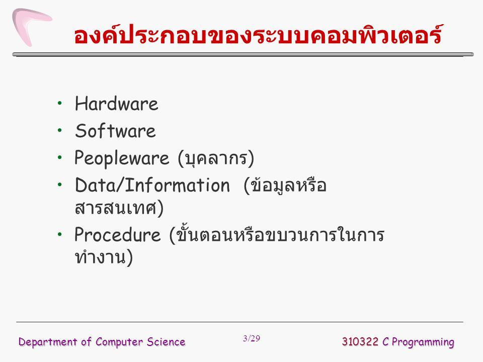 3/29 องค์ประกอบของระบบคอมพิวเตอร์ Hardware Software Peopleware ( บุคลากร ) Data/Information ( ข้อมูลหรือ สารสนเทศ ) Procedure ( ขั้นตอนหรือขบวนการในกา