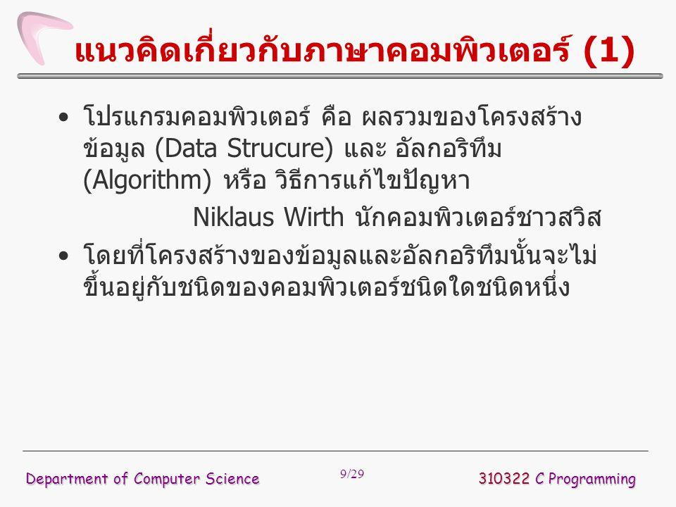 9/29 แนวคิดเกี่ยวกับภาษาคอมพิวเตอร์ (1) โปรแกรมคอมพิวเตอร์ คือ ผลรวมของโครงสร้าง ข้อมูล (Data Strucure) และ อัลกอริทึม (Algorithm) หรือ วิธีการแก้ไขปั