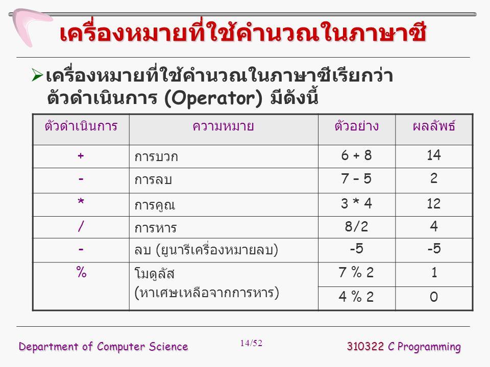 14/52  เครื่องหมายที่ใช้คำนวณในภาษาซีเรียกว่า ตัวดำเนินการ (Operator) มีดังนี้ 310322 C Programming Department of Computer Science เครื่องหมายที่ใช้ค