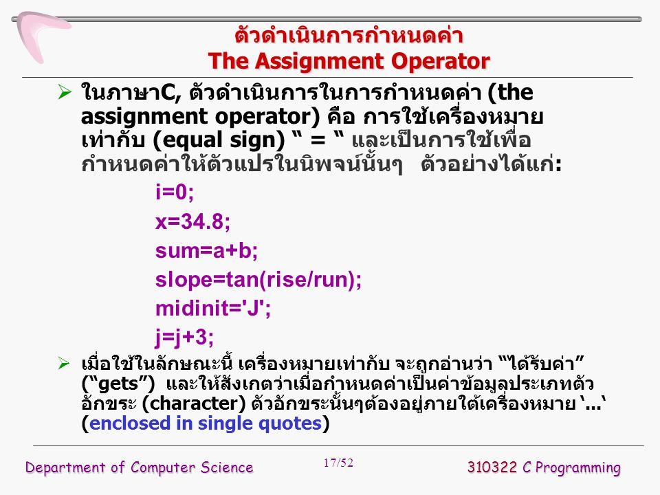 17/52 ตัวดำเนินการกำหนดค่า The Assignment Operator  ในภาษาC, ตัวดำเนินการในการกำหนดค่า (the assignment operator) คือ การใช้เครื่องหมาย เท่ากับ (equal