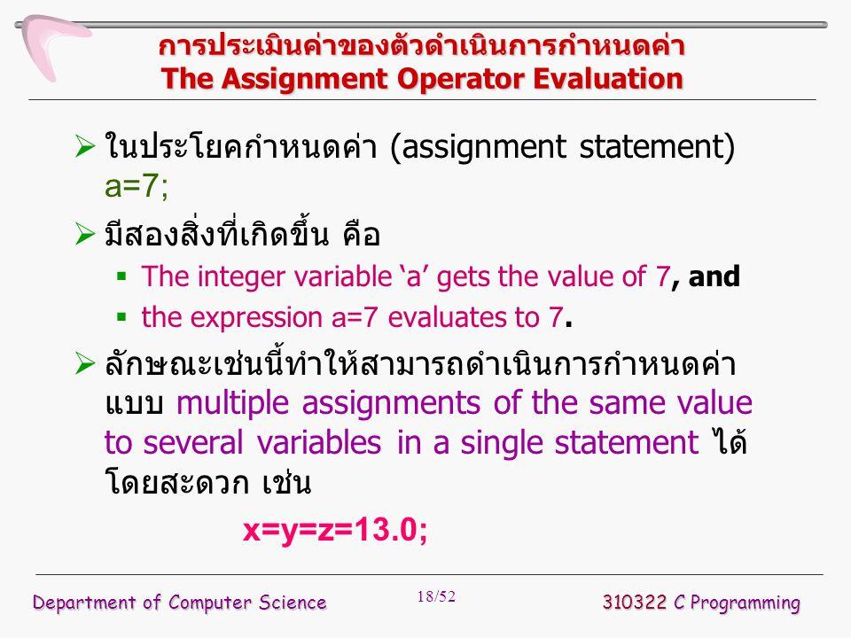 18/52 การประเมินค่าของตัวดำเนินการกำหนดค่า The Assignment Operator Evaluation  ในประโยคกำหนดค่า (assignment statement) a=7;  มีสองสิ่งที่เกิดขึ้น คื